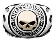 Harley-Davidson Men's Signet Ring, Flames Willie G Skull 14kt Gold Inlay HMR0019 - Wisconsin Harley-Davidson