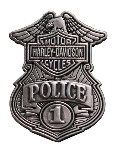 Harley-Davidson Police Original Antique Nickel Pin, 1-1/8'' W x 1-1/2'' P1263063 - Wisconsin Harley-Davidson
