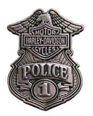 Harley-Davidson Police Original Antique Nickel Pin, 1-1/8'' W x 1-1/2'' P1263063 - Wisconsin Harley-Davidson