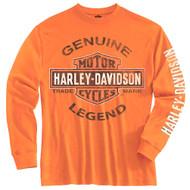 Harley-Davidson Big Boys' Tee, Long Sleeve Genuine Legend, Orange 1590507 - Wisconsin Harley-Davidson