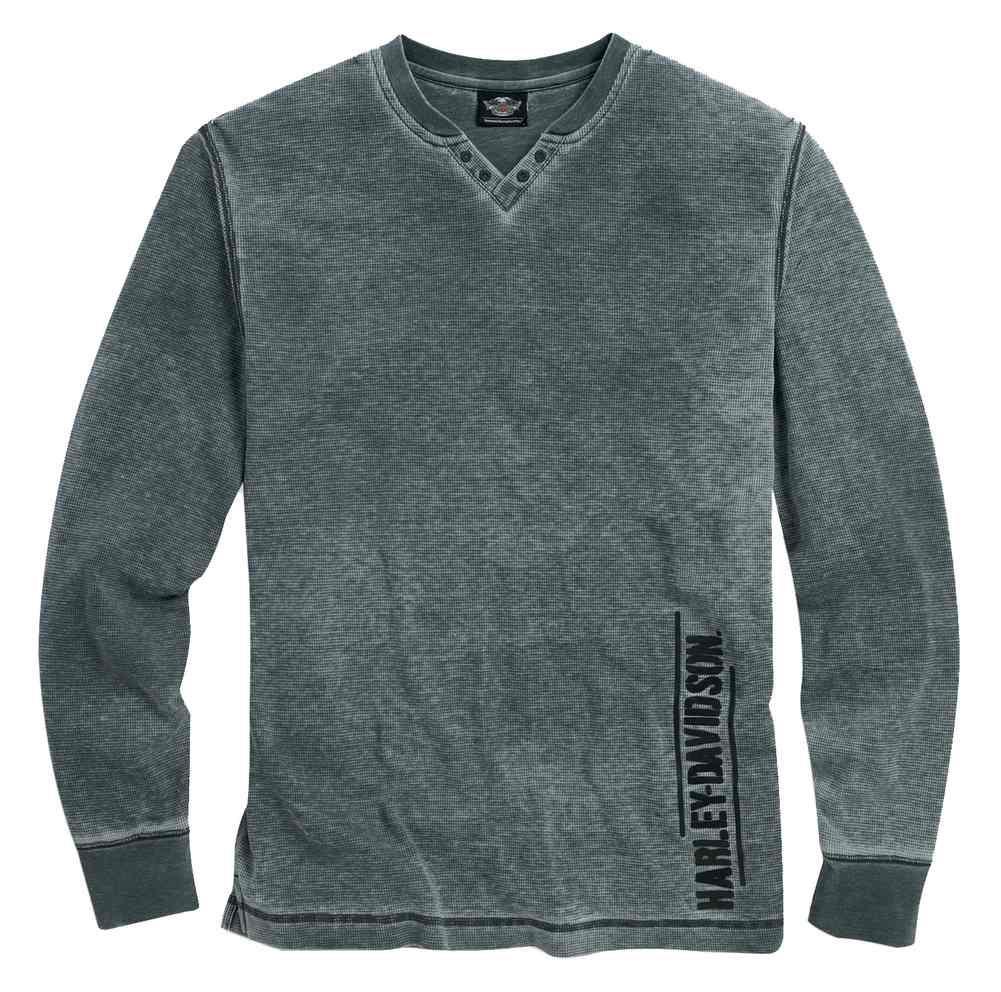 0cac3f9f Harley-Davidson Men's Washed V-Neck Waffle Knit Shirt, Asphalt Gray 96096-.  Click to enlarge