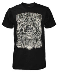 Harley-Davidson Mens Overload Skull Distressed Short Sleeve Shirt Black 30298305 - Wisconsin Harley-Davidson
