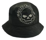 Harley-Davidson Men's Bucket Hat, Foldable Washed Twill Cap, Black HD-439 - Wisconsin Harley-Davidson