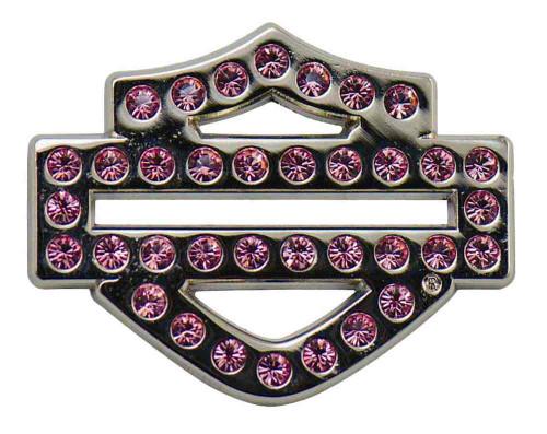 Harley-Davidson Bling Rhinestone Bar & Shield Logo Pin, Pink, 1.25 x 1 in 126577 - Wisconsin Harley-Davidson