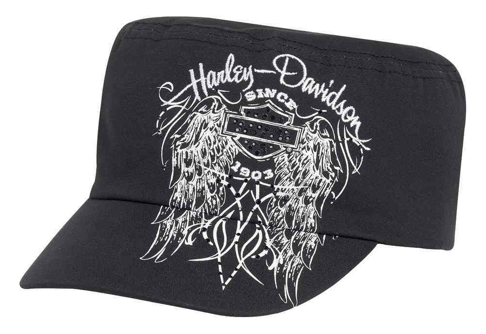 e1feb5f59 Harley-Davidson® Women's Embellished Winged Flat Top Cap Hat, Black.  99543-16VW