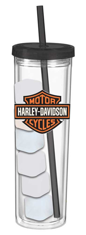 Harley-Davidson Bar & Shield Skinny Cup w/ Reusable Ice Cubes, 16 oz. 2ASC4900 - Wisconsin Harley-Davidson
