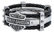 Harley-Davidson Men's Ring, Bar & Shield Logo Double Steel Cable Band HSR0022 - Wisconsin Harley-Davidson