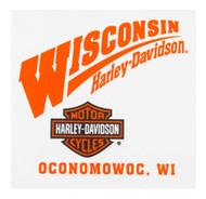 Harley-Davidson Wisconsin Harley Logo Decal Orange W DECAL - Wisconsin Harley-Davidson