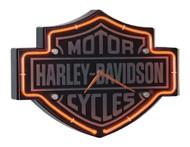 Harley-Davidson Etched Bar & Shield Shaped Neon Clock, Orange Neon HDL-16651 - Wisconsin Harley-Davidson