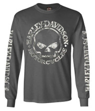 Harley-Davidson Men's Willie G Skull Long Sleeve T-Shirt Tee Charcoal 30296652 - Wisconsin Harley-Davidson