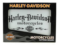 Harley-Davidson Motorcycle Tempered Glass Cutting Board w/ Handles HDL-18504 - Wisconsin Harley-Davidson
