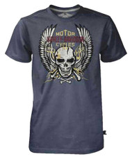 Harley-Davidson Men's Black Label Tee, Bright Winged Flaming Skull, Charcoal - Wisconsin Harley-Davidson