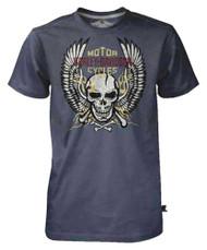 Harley-Davidson Men's Black Label Tee, Bright Winged Flaming Skull, Charcoal - Wisconsin Harley-Davidson
