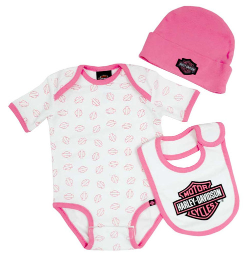 Harley-Davidson Baby Girl's Creeper Gift Box Set, Bar & Shield Logos 3000401 - Wisconsin Harley-Davidson