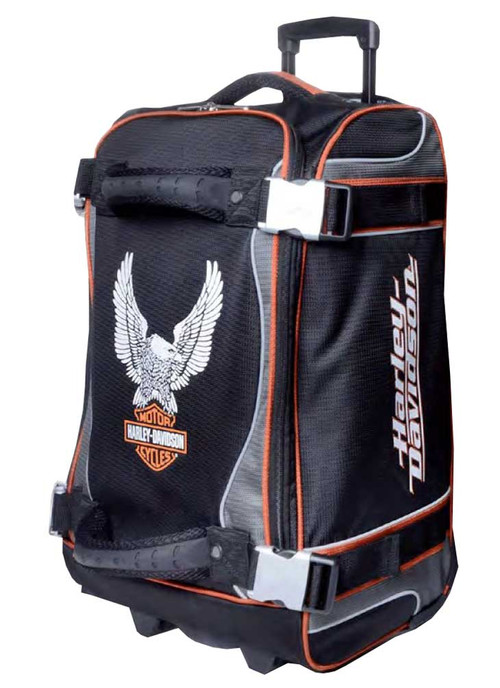Harley-Davidson 21 Inch Luggage, Up-Wing Eagle Bar & Shield, Silver/Black 99321 - Wisconsin Harley-Davidson