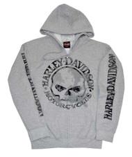 Harley-Davidson Men's Zippered Sweatshirt Jacket H-D Skull Hoodie Gray 30296653 - Wisconsin Harley-Davidson