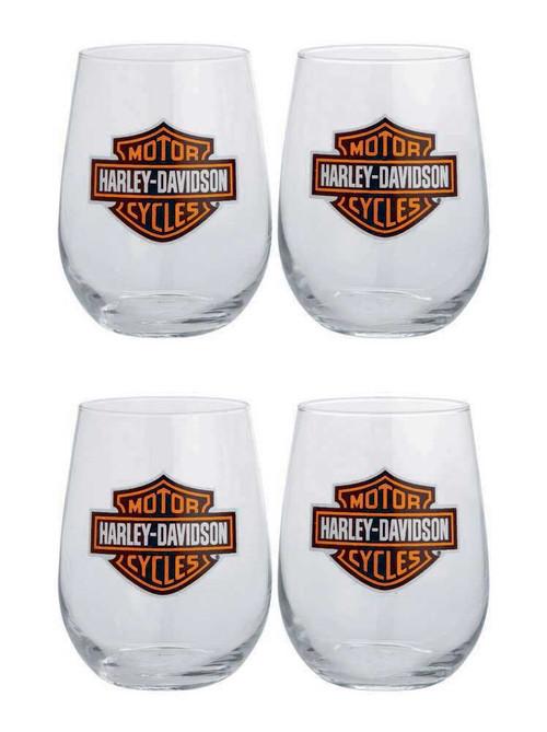 Harley-Davidson Bar & Shield Logo Stemless Wine Glass 17 oz Set 4  Bar 99205-14V - Wisconsin Harley-Davidson