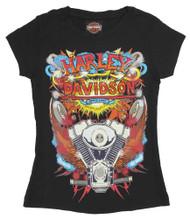 Harley-Davidson Big Girls' Retro KA-POW! Short Sleeve Youth Graphic Tee, Black - Wisconsin Harley-Davidson