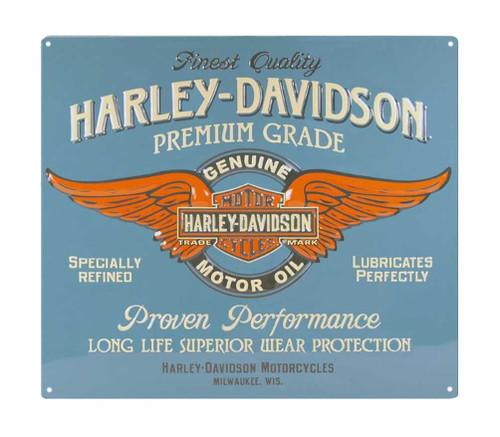 Harley-Davidson Embossed Genuine Duty Winged B&S Tin Sign, 15 x 13 inch 2010821 - Wisconsin Harley-Davidson