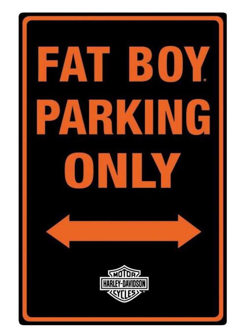 Harley-Davidson Embossed Fat Boy Motorcycle Packing Only Tin Sign, Black 2010981 - Wisconsin Harley-Davidson