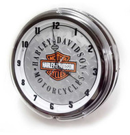 Harley-Davidson Diamond Plated Bar & Shield Neon Clock, Orange Neon HDL-16611 - Wisconsin Harley-Davidson