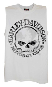 Harley-Davidson Men's Willie G Skull Tank Top, White Muscle T-Shirt 30296645 - Wisconsin Harley-Davidson