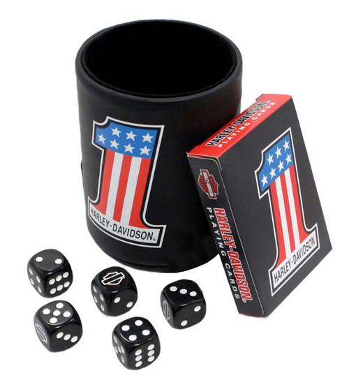 Harley-Davidson #1 American Flag Game Set : Dice Cup, Cards & Dice 609 - Wisconsin Harley-Davidson