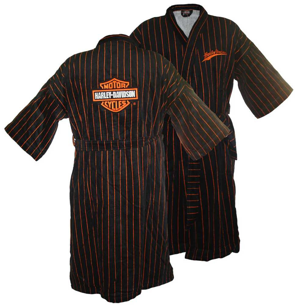 select for original fashionable and attractive package top quality Harley-Davidson® Mens Orange Pinstripe Baseball Robe Bathrobe 4654/4663