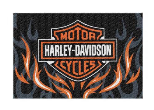 Harley-Davidson Bar & Shield Rise Up Flames Rug, Rectangle 39 x 59 inch NW282865 - Wisconsin Harley-Davidson