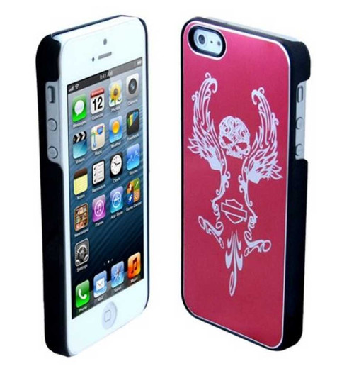 Harley-Davidson Aluminum iPhone 5/5s Shell Etched Skull Graphic Pink 07640 - Wisconsin Harley-Davidson