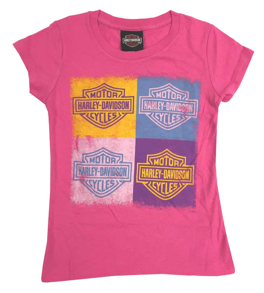 f2cf5954 Harley-Davidson® Big Girls' Youth Bar & Shield Cubes Short Sleeve ...