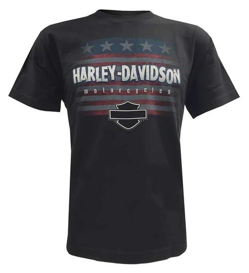 Harley-Davidson Big Boys' Stars N' Stripes Patriotic Youth T-Shirt, Black - Wisconsin Harley-Davidson