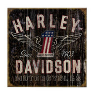 Harley-Davidson 28 x 28 Genuine Winged #1 Distressed Wood Sign W11-HARL-GCGPX12 - Wisconsin Harley-Davidson
