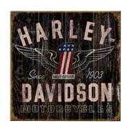 Harley-Davidson 28 x 28 Genuine Winged #1 Distressed Wood Sign W11-HARL-GCGPX12 - Wisconsin Harley-Davidson