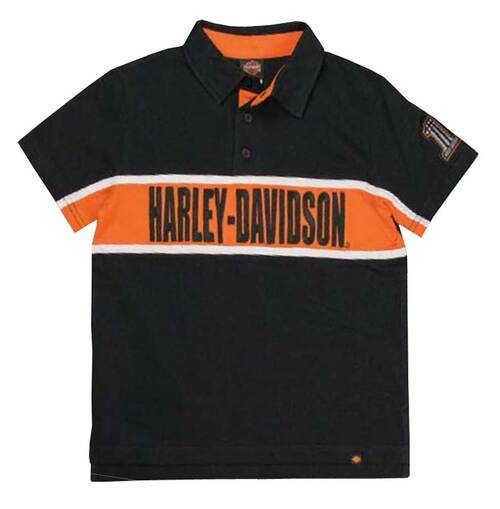 Harley-Davidson Big Boys' Embroidered H-D Polo Striped Shirt, Black 1090561 - Wisconsin Harley-Davidson