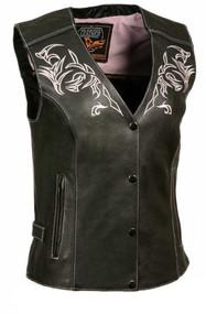 Milwaukee Leather Women's Vest w/ Reflective Tribal Design & Piping ML1296 - Wisconsin Harley-Davidson