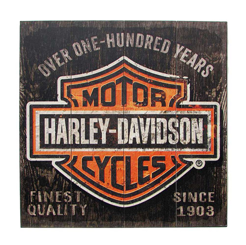 Harley-Davidson 28 x 28 Over One Hundred Years B&S Wood Sign W11-HARL-SHIELD - Wisconsin Harley-Davidson