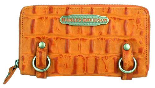 Harley Davidson Womens Orange Hammered Croco Zip Clutch Wallet HC7990L-ORG - Wisconsin Harley-Davidson