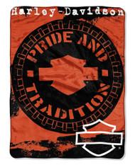Harley-Davidson Wheels Micro Raschel Throw Blanket, Black & Orange NW047099 - Wisconsin Harley-Davidson