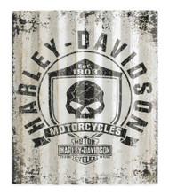 Harley-Davidson Skull Shield Corrugated Metal Sign 29x35 Silver/Black. 99205-16V - Wisconsin Harley-Davidson