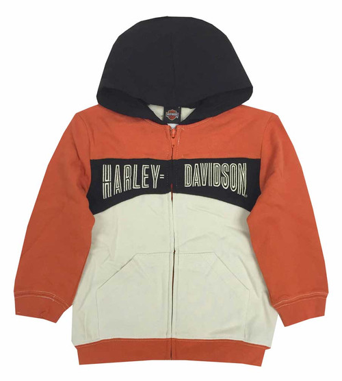 Harley-Davidson Big Boys' Hooded Sweatshirt, Embroidered H-D, Orange 6591535 - Wisconsin Harley-Davidson