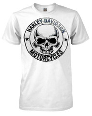 Harley-Davidson Men's H-D Skull Badge Short Sleeve T-Shirt White 30298294 - Wisconsin Harley-Davidson