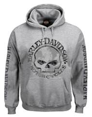 Harley-Davidson Men's Hooded Sweatshirt, Willie G Skull, Gray Hoodie 30296654 - Wisconsin Harley-Davidson