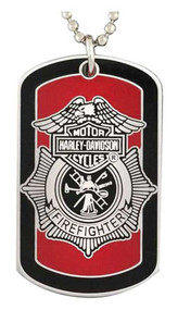 Harley-Davidson Firefighter First In Last Out Dog Tag Necklace/KeyChain 8002718 - Wisconsin Harley-Davidson