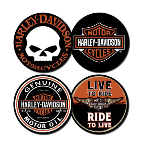 Harley-Davidson Core Collection Coasters, 4 Famous H-D Iconic Logos CS11966 - Wisconsin Harley-Davidson
