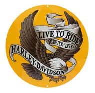 Harley-Davidson Round Tin Sign, Live To Ride, Ride To Live Eagle Gold 2010231 - Wisconsin Harley-Davidson