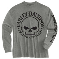 Harley-Davidson Little Boys' Tee, Long Sleeve Willie G Skull Shirt, Gray 1580509 - Wisconsin Harley-Davidson