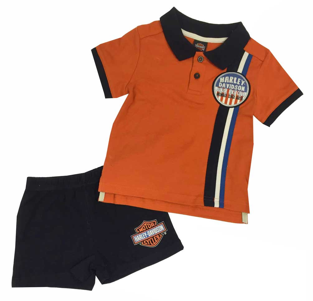 a74f7828 Harley-Davidson Little Boys' Interlock Short Top Set White/Black/Orange.
