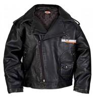 Harley-Davidson Big Boys' Upwing Eagle Biker Pleather Jacket Black 0396074 - Wisconsin Harley-Davidson