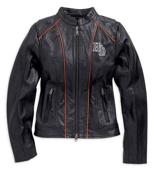 Harley Davidson Women S Epoch Leather Jacket Black Orange White